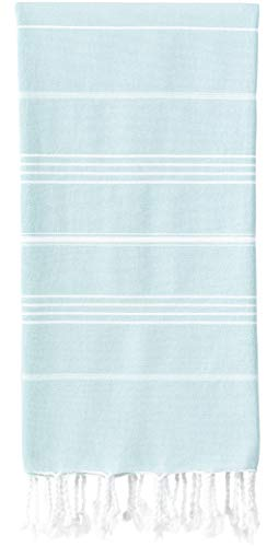 WETCAT Original Turkish Beach Towel (39 x 71) - Prewashed Peshtemal, 100% Cotton - Highly Absorbent, Quick Dry and Ultra-Soft - Washer-Safe, No Shrinkage - Stylish, Eco-Friendly - [Aqua]