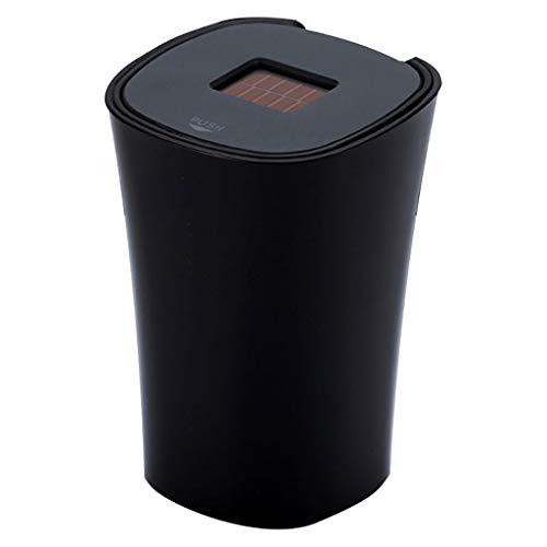 Cendrier solaire noir de voiture avec couvercle, cendrier de voiture avec indicateur de lumière bleue de LED de couvercle pour la voiture, la maison, le bureau et la tasse de support de plateau de cen