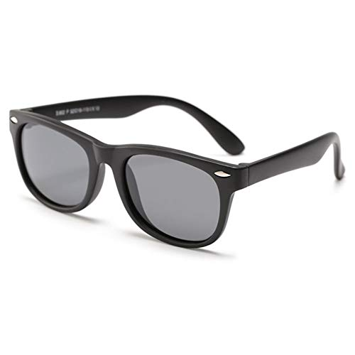 VEVESMUNDO Kinder Sonnenbrille Polarisierte UV400 schutz Flexibel Silikon Kindersonnenbrillen Sportbrille für Jungen Mädchen (Kinder für 3-12 Jahre, Matt Schwarz Rahmen)