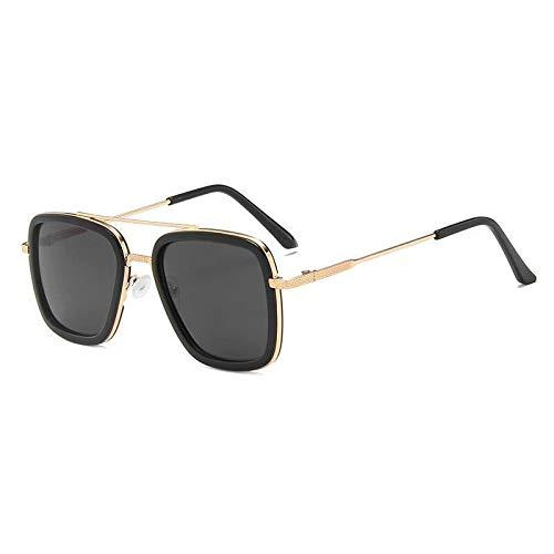 Gafas de sol para niños de 2020 con marco de metal para niños, gafas de sol de piloto cuadradas para niñas y niños Steampunk (lentes de color: gris dorado)