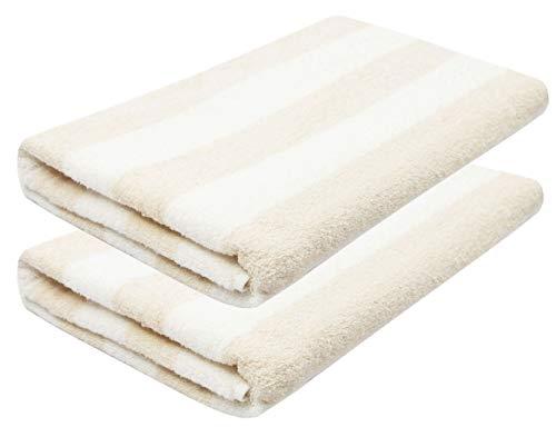 ZOLLNER 2er Set Strandlaken, 75x180 cm, 100% Baumwolle, 375g/qm, beige weiß gestreift