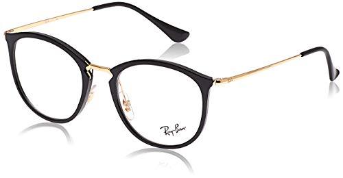Ray-Ban Unisex-Erwachsene 0RX 7140 2000 51 Brillengestelle, Schwarz (Shiny Black)