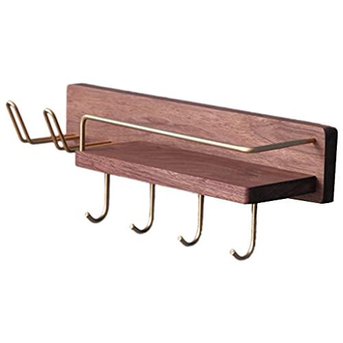 Floating Shelves Estante de pared de madera maciza para baño, estante de almacenamiento de pared para secador de pelo, soporte para cepillo de dientes (tamaño: 40 x 10 x 8 cm)