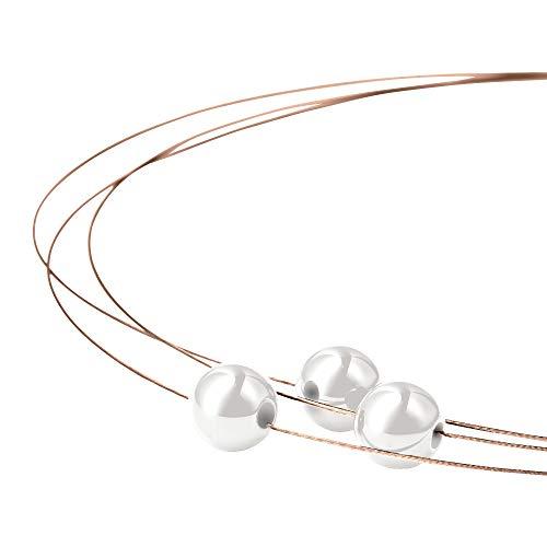 Heideman Halskette Damen Florere III aus Edelstahl Rosegold farbend matt Kette für Frauen mit Swarovski Perlen Weiss 10mm und Längen 44cm Perlenschmuck Brautschmuck