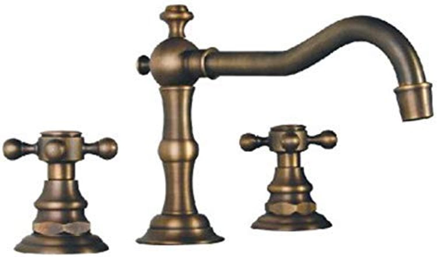 Oudan Dual Holder Three-Hole Sink Faucets Mixer with Brass, Classic Bathroom Basin Tap Sets (color   -, Size   -)