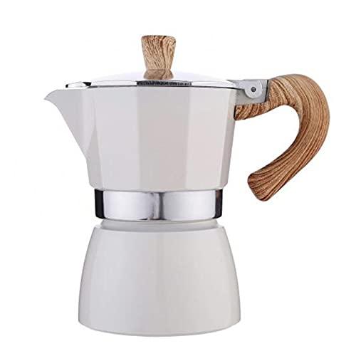 XUEXIU 60% De Ventas !!!Tetón Octogonal De Aluminio Classic Mocha Tetera Cafetera Kettle Portátil (Color : White)