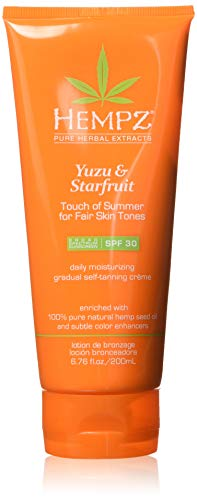 Hempz Hempz yuzu & starfruit touch of summer moisturizing gradual self-tanning creme with spf 30 for fair skin tones, 6.76 ounce , 6.76 Ounce