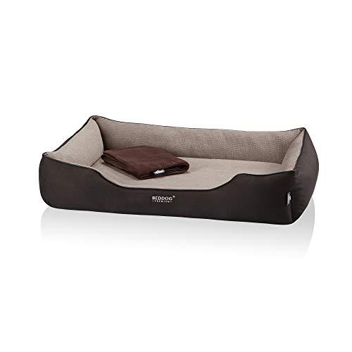 BedDog Premium Orthopädisches Hundebett Clara, Hundekissen mit abnehmbaren Bezug, Kuschel-Decke als Zugabe - Melange (beige/braun)