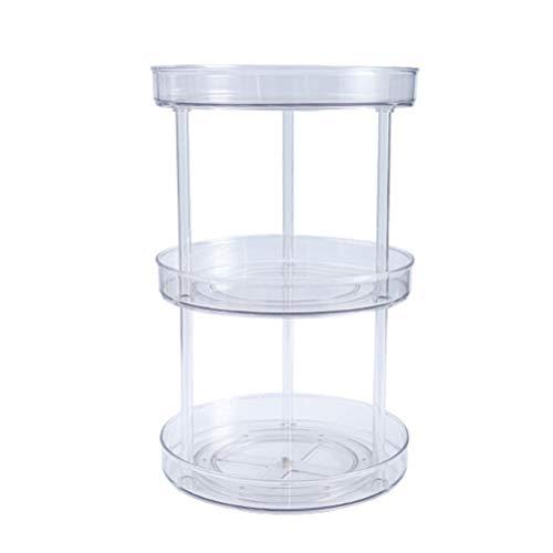 xiaowang Organizador de especias transparents de cocina, giratorio para especias, bandeja redonda transparente, soporte para exhibición de fragancias cosméticas, doble capa