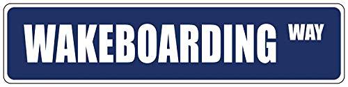Monsety Wakeboarding Blauw Decoratief Adres Teken Muur Decoratie Metaal Aluminium Tin Teken Gift 4 x 18