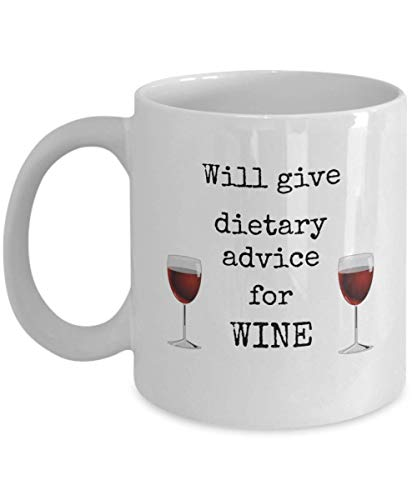 WTOMUG Dietitian mug - Will give dietary advice for wine - Funny nutritionist coffee cup - registered dietician joke - Nutritionists humor birthday gift - nutrition science degree cup dietetics gifts