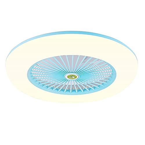 Ventilador de Techo con Luz Ventilador con Mando A Distancia, Ventilador Invisible para Iluminación De Dormitorios, Ventilador Regulable con Luz De Techo(Color:Azul)
