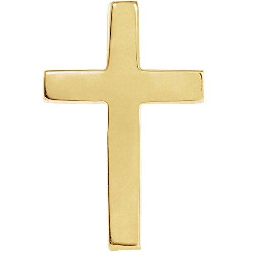14 Karat Gelbgold, 18 x 12 mm, poliert, religiöses Kreuz, Anstecknadel, Schmuck, Geschenke für Herren