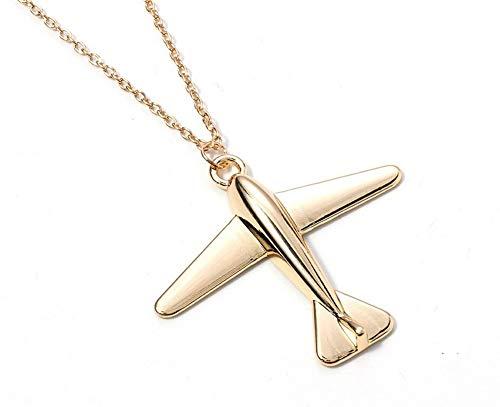 Générique halsketting hanger vliegtuig, goudkleurig, ketting 60 cm