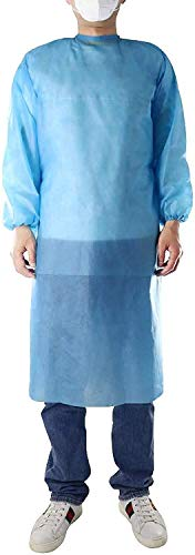 Level 1 PP Disposable Isolation Gowns Blue Pack of 10 with Elastic Cuff, Latex- Free, Non-Woven, Fluid Resistant, ONE Size FITS All (10 PCS=1 Bag)