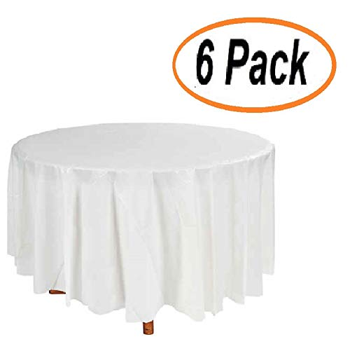Plastic Tablecloth (6 Pack) White Red Round Premium Disposable Tablecloths Inches Birthday Party Manteles BBQ Fiesta Table Cloth Multiuse Table Cover