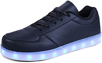 MILEADER Black LED Shoes for Women and Men Adult Light Up Shoes Unisex Flashing LED Sneakers Casual Breathable USB Chargable Shoes with Remote Control - 44