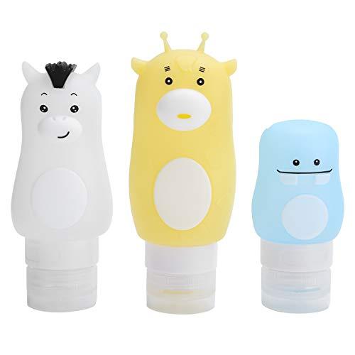 Reiseflaschen, 3 Stück 50 ml / 70 ml / 90 ml Tragbare Cartoon Animal Squeeze-Flasche Leerer Kosmetikbehälter Auslaufsichere Shampoo-Duschgel-Lotion Aufbewahrbare Flasche