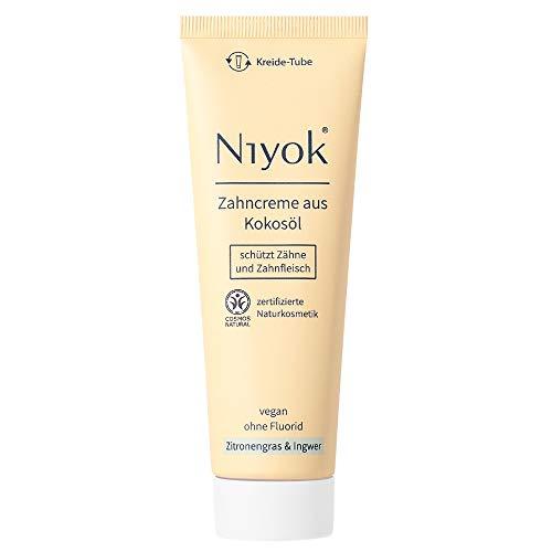 Niyok® Kokosöl Zahnpasta ohne Fluorid und Mikroplastik Plastik | Bio Naturkosmetik Sensitiv auch für Kinder | Xylit Herbal | natürliche Zahncreme VEGAN | Zitronengras & Ingwer (75ml)