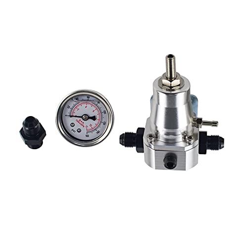 MINGYUYUYY REGULADOR DE PRESIÓN DE Combustible Universal + MEDIDOR + AN6 Ajuste 30-70 PSI 7845 (Color : Silver)
