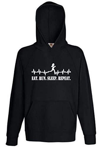 Hoodie Kapuzenpullover Eat. Run. Sleep. Repeat.