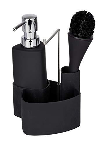 WENKO Spül-Set Empire, 4 in 1 - Spülmittelspender, Spülbürste, Spültuchhalter und Organizer, hochwertige Keramik mit Soft-Touch Oberfläche, Fassungsvermögen 250ml, 11 x 19 x 12.5 cm, Schwarz