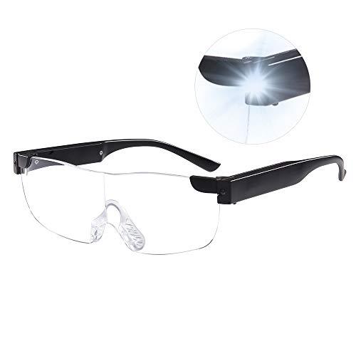 SKYWAY LED Big Zoom Vision Magnifying Glasses Eyewear USB Rechargeable Magnifier Eyeglasses for Elder (Black 1.6X)