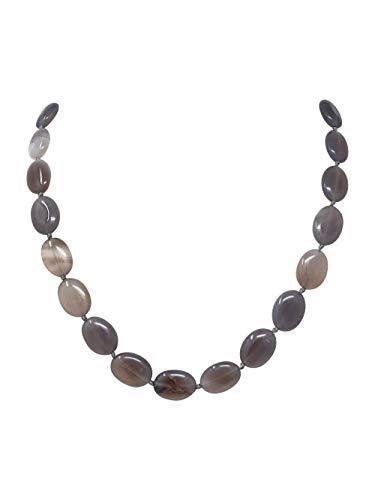 TreasureBay Impresionante collar de ágata gris natural para mujer