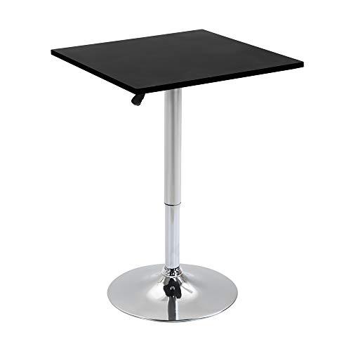 homcom Tavolo Quadrato Regolabile in Altezza, Metallo e MDF, Tavolino da Bar, Cucina, Soggiorno, Nero, 60x60x82-103cm