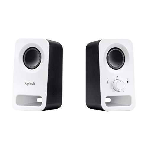Logitech Z150 PC-Lautsprecher, Stereo Sound, 2 Lautsprecher, 6 Watt Spitzenleistung, 3.5mm Eingang, Regler am rechten Lautsprecher, Kopfhörerbuchse, UK Stecker, PC/TV/Handy/Tablet - Weiß