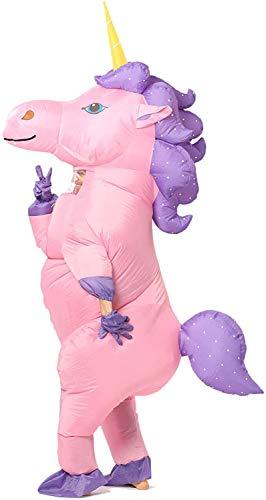 JYZCOS Disfraz de Unicornio Inflable con Caballo de Plata Dorada