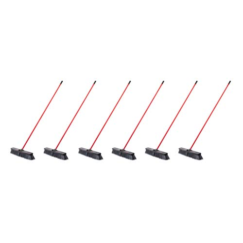 AmazonCommercial 24-inch Push Broom Kit, Fine Floor - 6-Pack