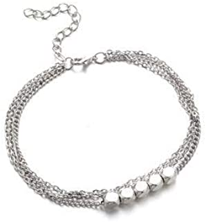 Women Jewelry Anklets - Trendy Sterling Silver Plated Beads Anklet Barefoot Sandals Foot Chain for Women