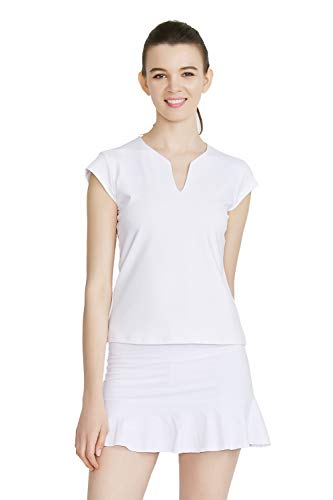 Rainbow Tree Tennis Shirts for Women V-Neck Workout Tops Short Sleeve Moisture Wicking Athletic Shirts,Runs Small White