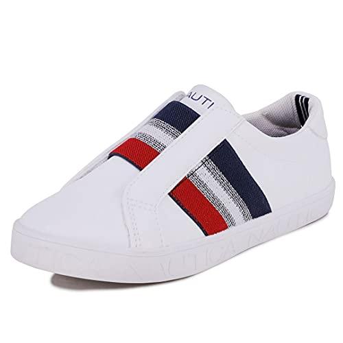 Nautica Zapatillas de deporte de moda para niños - Lace Up/Slip-on |Boys-Girls|, Cayla-white Red Blue, 21 MX Niño pequeño