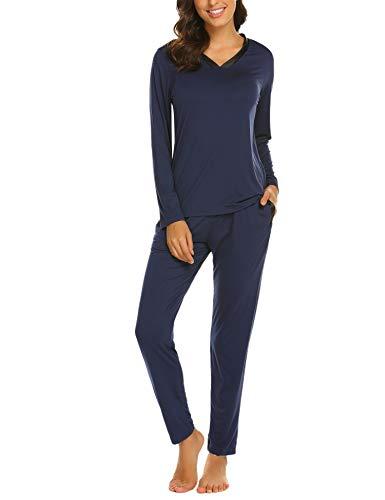 ADOME Damen Lang Elegant Pyjama Weich Set V-Ausschnitt Basic Zweiteiliger Schlafanzug Lang (S, 479 Dunkelblau)