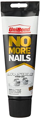 UniBond 1963625 No More Nails Invisible, Heavy-Duty Clear Glue, Strong Glue for Wood, Ceramic, Metal and More, Instant Grab Mounting Adhesive, 1 x 184g Tube