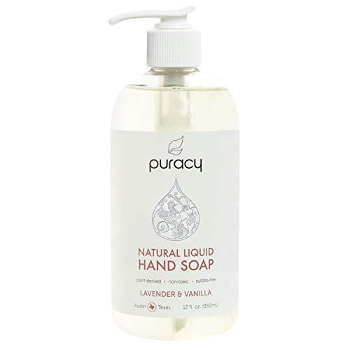 Puracy Natural Liquid Hand Soap, Lavender & Vanilla, Moisturizing Gel Hand Wash, 12 Ounce