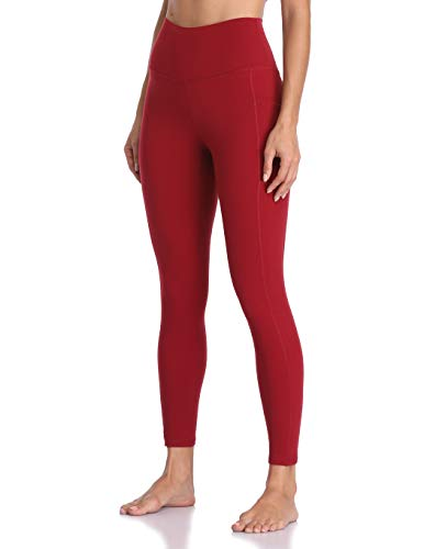 Colorfulkoala Women's High Waisted Yoga Pants 7/8 Length Leggings with Pockets (S, Rose Red)