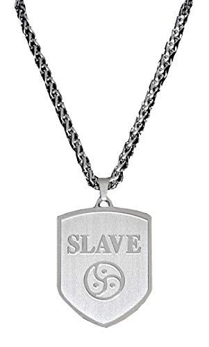 Exklusiver BDSM Fetisch Biker Halsschmuck Halskette + Wappen Anhänger aus Edelstahl / Motiv: SLAVE, MASTER, TRISKELE