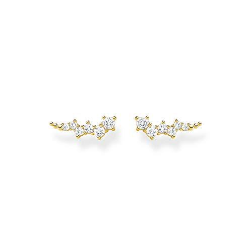 Thomas Sabo Damen Ohrringe Ear climber weiße Steine gold, 925 Sterlingsilber