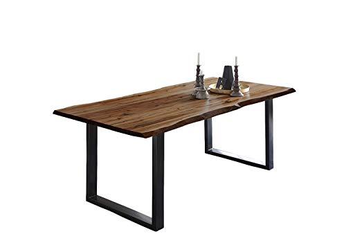 SAM Esszimmertisch 200 x 100 cm Mephisto, Baumkantentisch nussbaumfarben, Akazienholz massiv, U-Gestell aus Metall schwarz