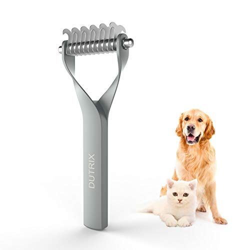 DUTRIX Pet Grooming Brush 2 Sided Grooming Rake for Cats & Dogs &Horses Deshedding Mats & Tangles Best Dematting Tool for Short Medium Long Haired