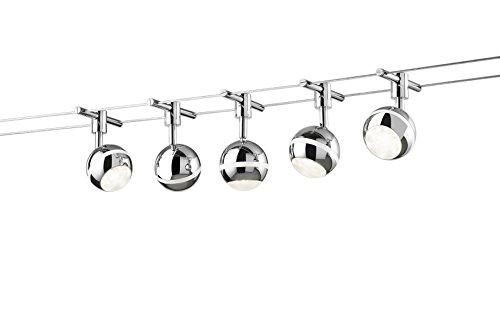 Trio Leuchten LED Seilsystem Baloubet 778210506, Metall, Kunststoff chromfarbig / weiß, 5 x 3.8 Watt