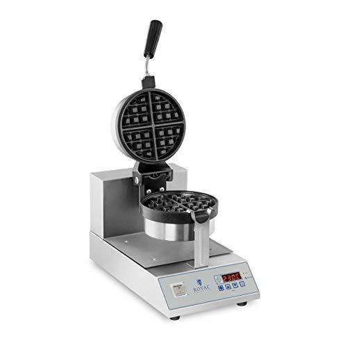 Royal Catering RCWM-1300-RE Gaufrier Rond Appareil a Gaufres Belges Waffle Machine a Gaufre (Ø 18 cm, 1300 W, Plaque de cuisson rotative, Minuterie jusqu'à 99 min, Écran LED)