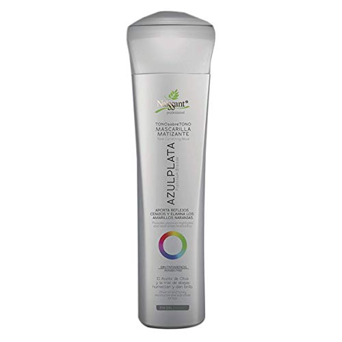 Naissant Professional Hair Treatment Mask. Color Depositing, Color Intensifier and Tone Correcting Highlights. Without Salt, Paraben and Ammonia. (Platinum Blonde, Azul Plata)