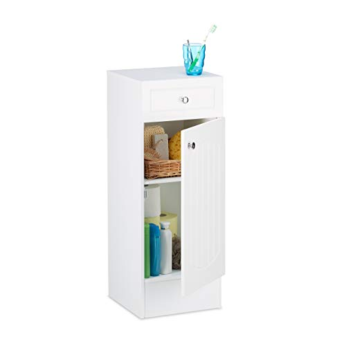 Relaxdays Badschrank Holz, kleiner Badezimmerschrank mit Schublade, Lamellen Design, HBT: 80 x 30,5 x 30,5 cm, weiß