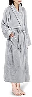 PAVILIA Plush Robe For Women | Light Grey, Fluffy Soft Bathrobe | Luxurious Fuzzy Warm Spa Robe, Cozy Fleece Long Robe | Satin Trim, Small-Medium