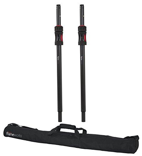 Gator Frameworks ID Series Subwoofer/Speaker Extender Pole with Lift Assist; Set of 2 Stands with Nylon Carry Bag (GFW SPKR-SPSET)