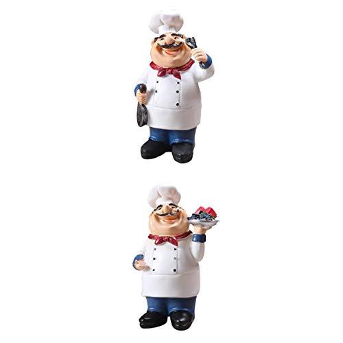 LOVIVER 2X Chefkoch Dekofigur Koch Figur Sammelfigur Tischdekoration Geschenk